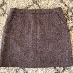 H&M brown tweed mini skirt